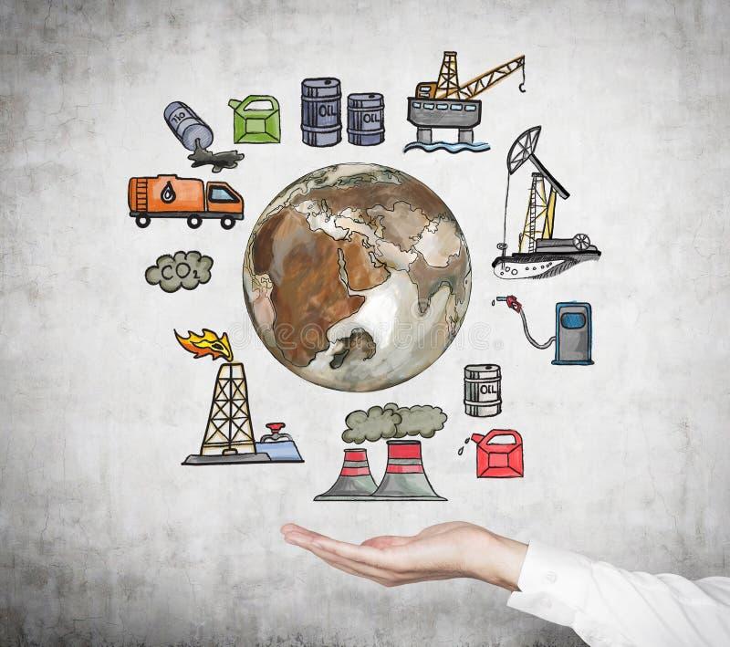 Ilustração colorida de componentes da indústria petroleira no concreto ilustração do vetor