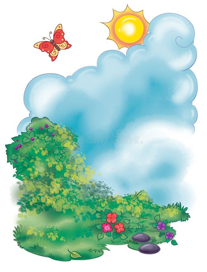ilustração colorida de um cenário do campo do verão ilustração stock