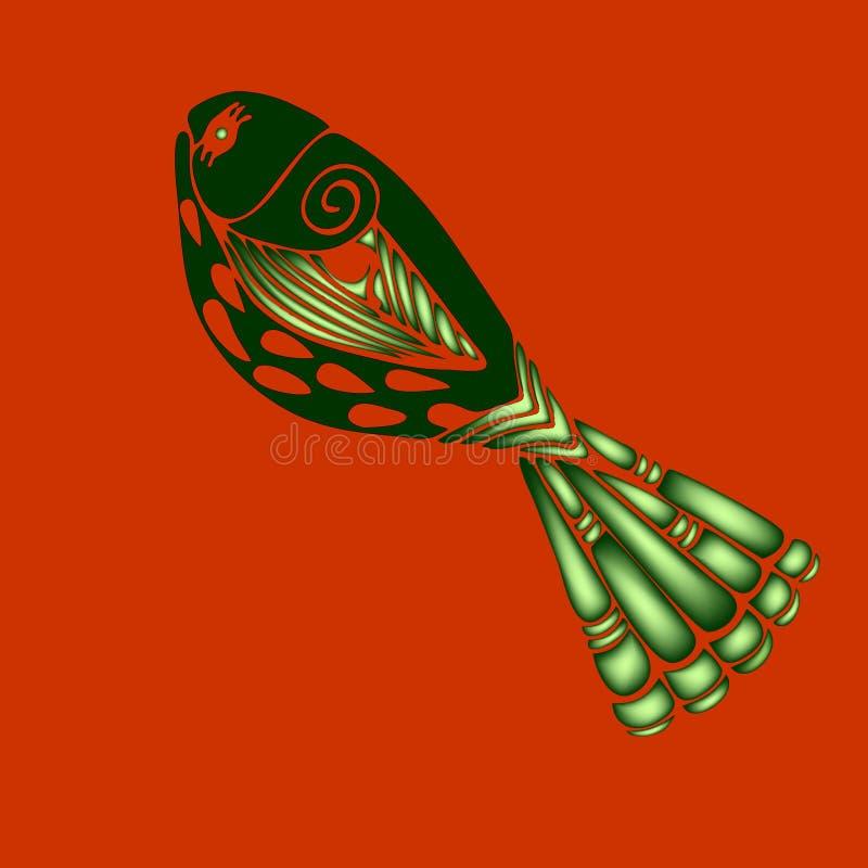 Ilustração colorida decorativa eps10 do vetor dos peixes 3d ilustração stock