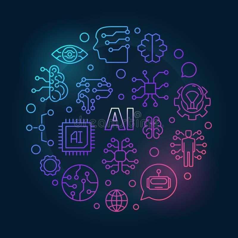 Ilustração colorida do AI Sinal do vetor da inteligência artificial ilustração royalty free