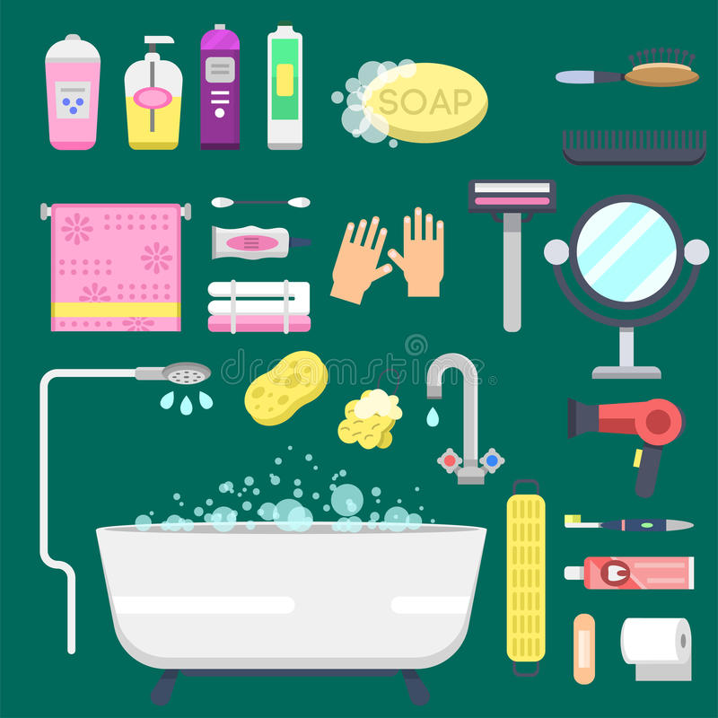 Ilustração colorida do chuveiro moderno dos ícones do equipamento do banho para o projeto interior do vetor da higiene do banheir ilustração do vetor