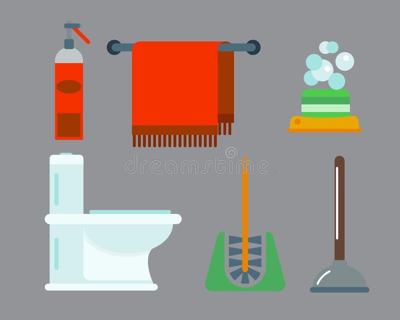 Ilustração colorida do clipart do estilo liso do chuveiro dos ícones do equipamento do banho para o projeto do vetor da higiene d ilustração stock