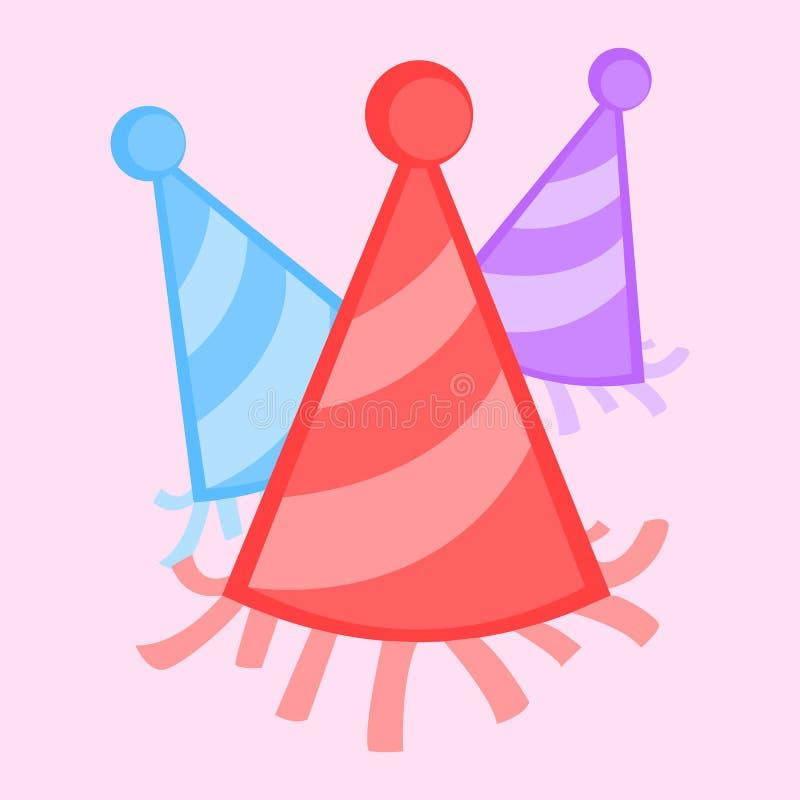 Ilustração colorida do gráfico de vetor dos chapéus do partido do ano novo ilustração do vetor
