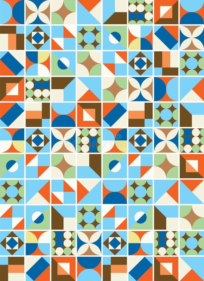 Ilustração colorida do teste padrão das telhas imagem de stock