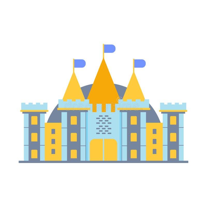 Ilustração colorida do vetor do castelo do conto de fadas ilustração stock