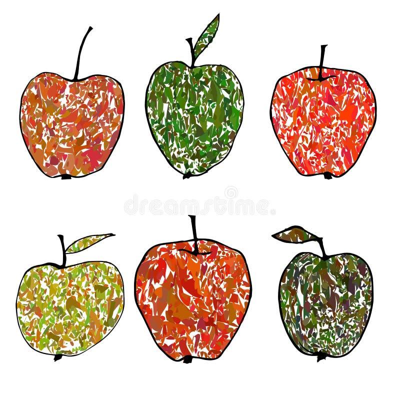 Ilustração colorida do vetor com maçãs decorativas ilustração royalty free