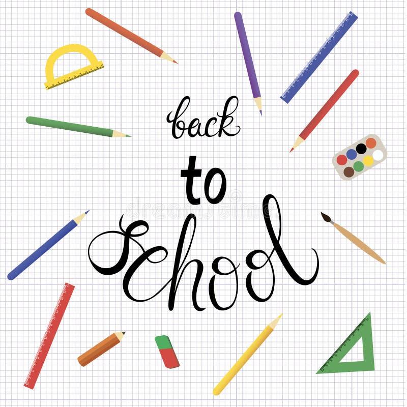 Ilustração colorida do vetor com muitas fontes de escola no fundo da folha branca ilustração do vetor