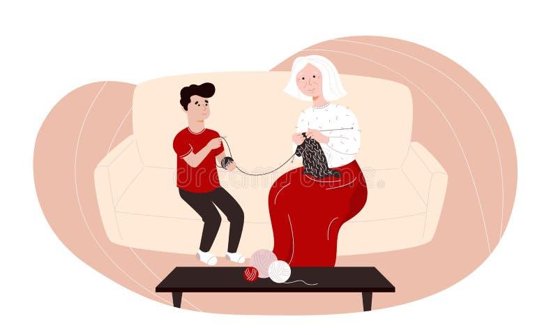 Ilustração colorida do vetor com uma avó de confecção de malhas e seu neto ilustração royalty free