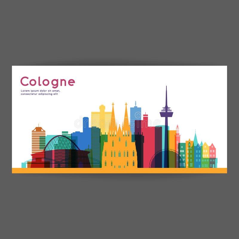 Ilustração colorida do vetor da arquitetura da água de Colônia