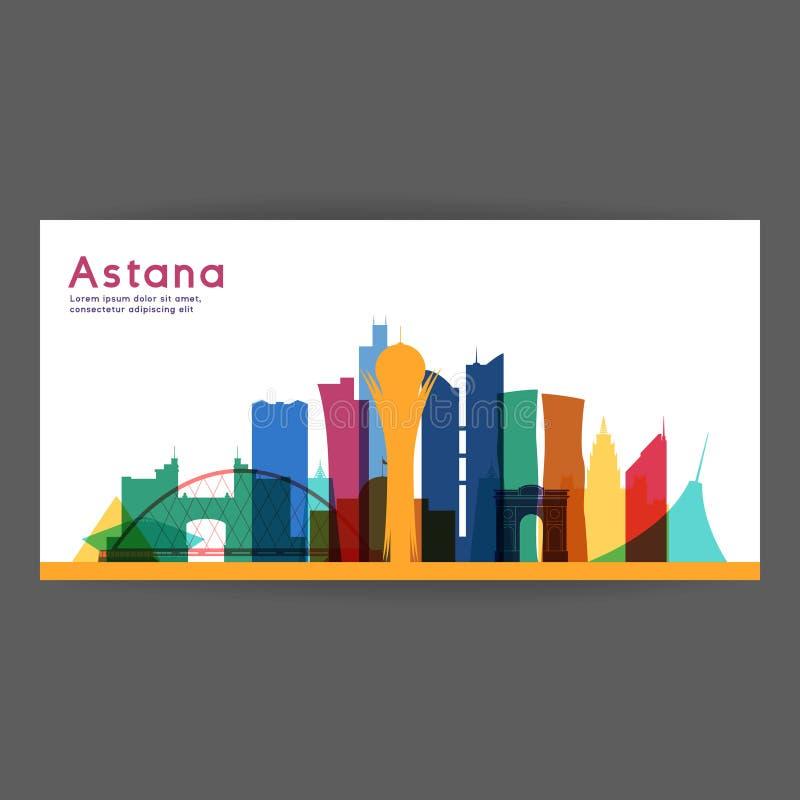 Ilustração colorida do vetor da arquitetura de Astana ilustração do vetor
