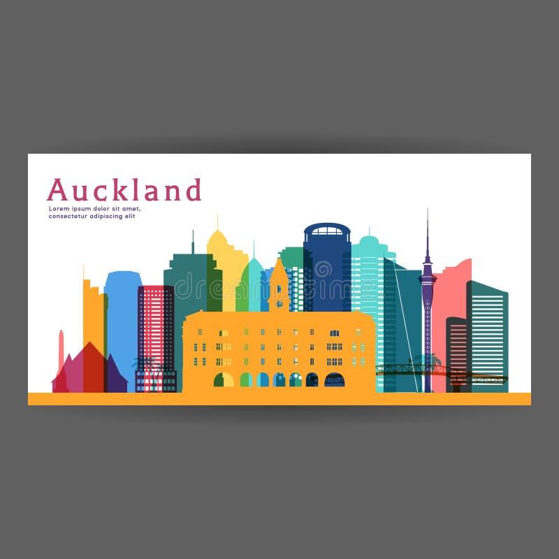 Ilustração colorida do vetor da arquitetura de Auckland ilustração royalty free