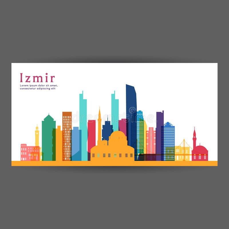 Ilustração colorida do vetor da arquitetura de Izmir ilustração do vetor