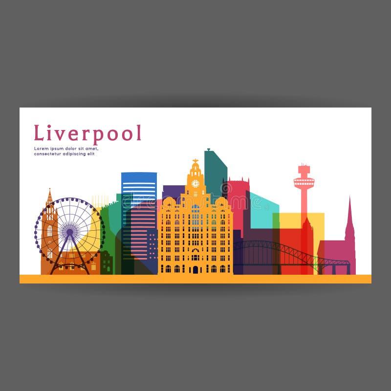 Ilustração colorida do vetor da arquitetura de Liverpool ilustração royalty free