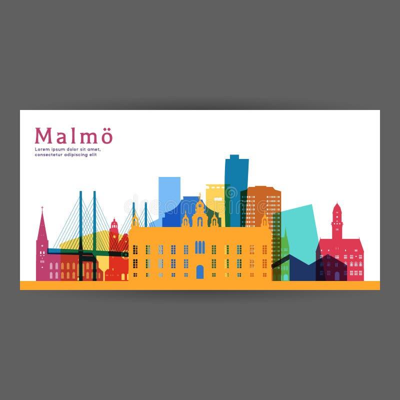 Ilustração colorida do vetor da arquitetura de Malmo ilustração royalty free