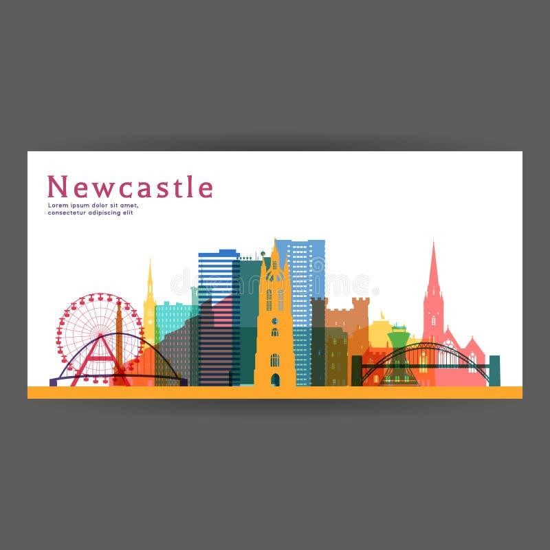 Ilustração colorida do vetor da arquitetura de Newcastle ilustração stock