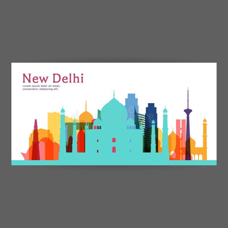 Ilustração colorida do vetor da arquitetura de Nova Deli ilustração stock