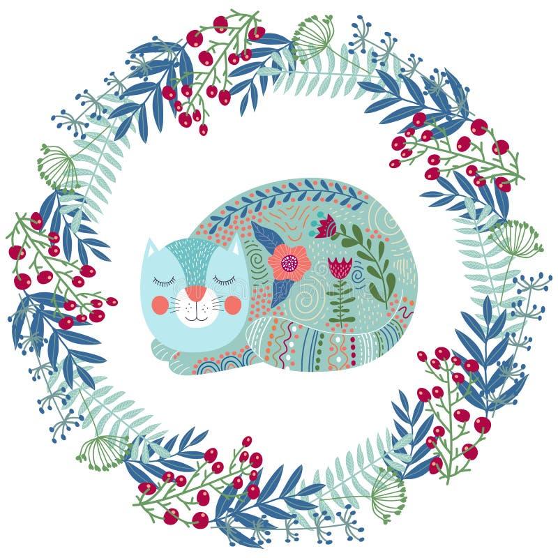 Ilustração colorida do vetor da arte com gato bonito e a grinalda floral ilustração do vetor