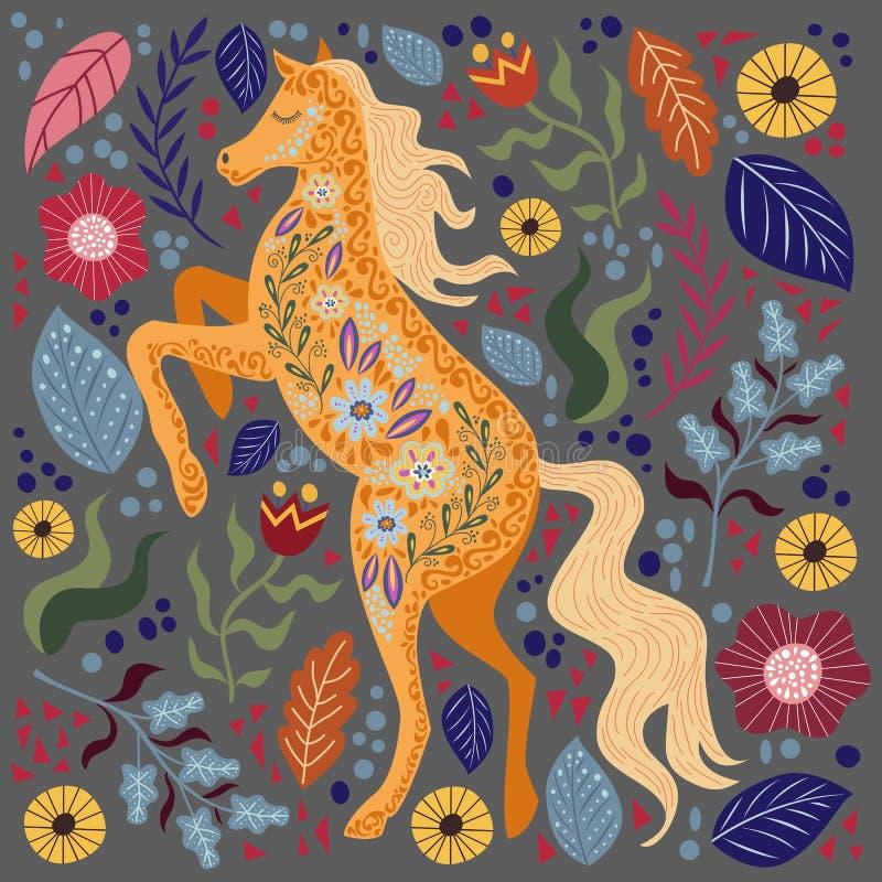 Ilustra??o colorida do vetor da arte com o cavalo e as flores populares abstratos bonitos em um fundo escuro ilustração do vetor