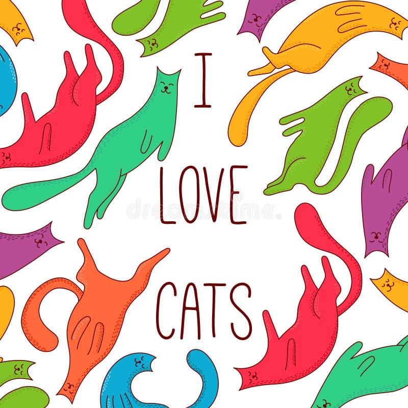 Ilustração colorida do vetor da garatuja dos animais de estimação dos gatos ilustração stock