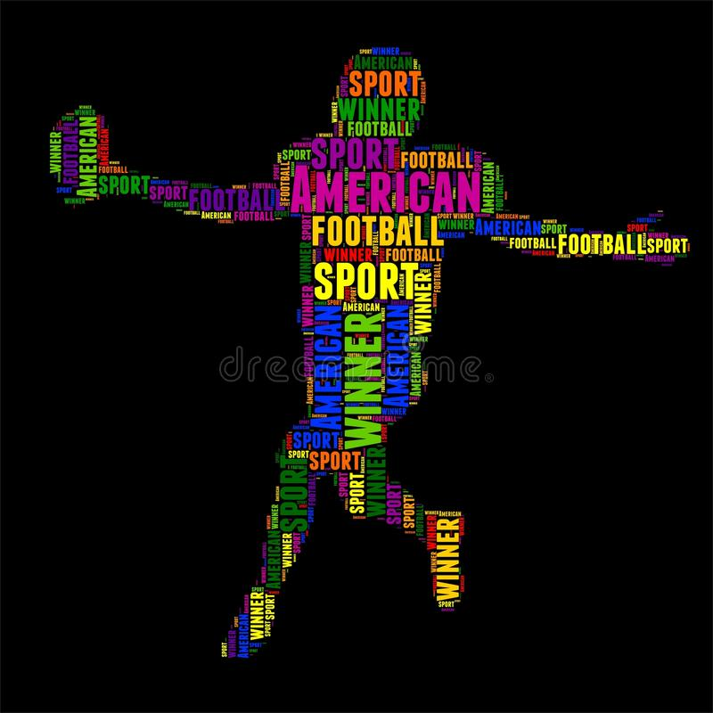 Ilustração colorida do vetor da nuvem da palavra da tipografia do futebol americano ilustração stock