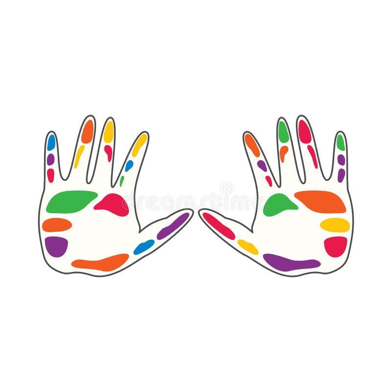 Ilustração colorida do vetor de cuidados comunitários humanos e do molde social do logotipo do relacionamento Dois handprints mul ilustração stock
