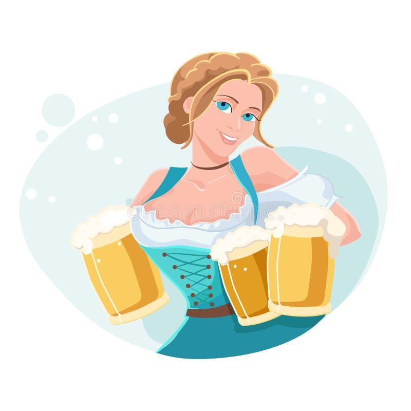 Ilustração colorida do vetor do dia internacional da cerveja com empregada de mesa bonita ilustração do vetor