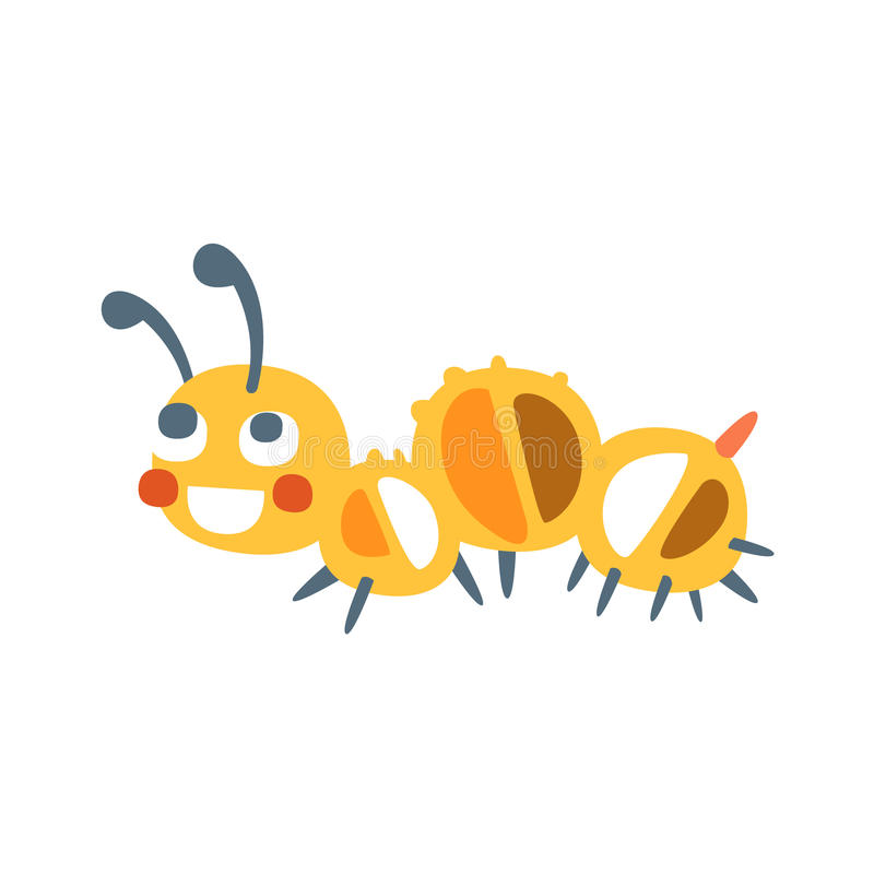 Ilustração colorida do vetor do caráter da lagarta bonito dos desenhos animados ilustração royalty free