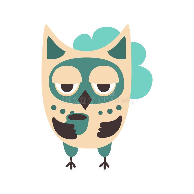 Ilustração colorida do vetor do caráter do pássaro triste da coruja dos desenhos animados ilustração royalty free