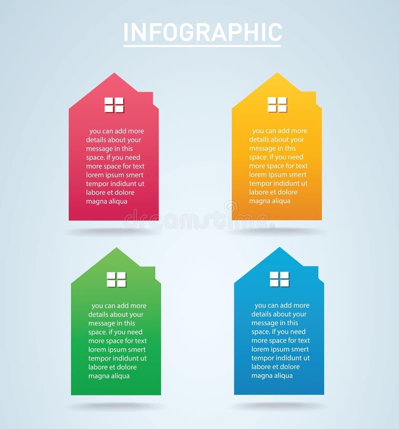 Ilustração colorida do vetor do fundo das opções de Infographic 4 da casa ilustração do vetor
