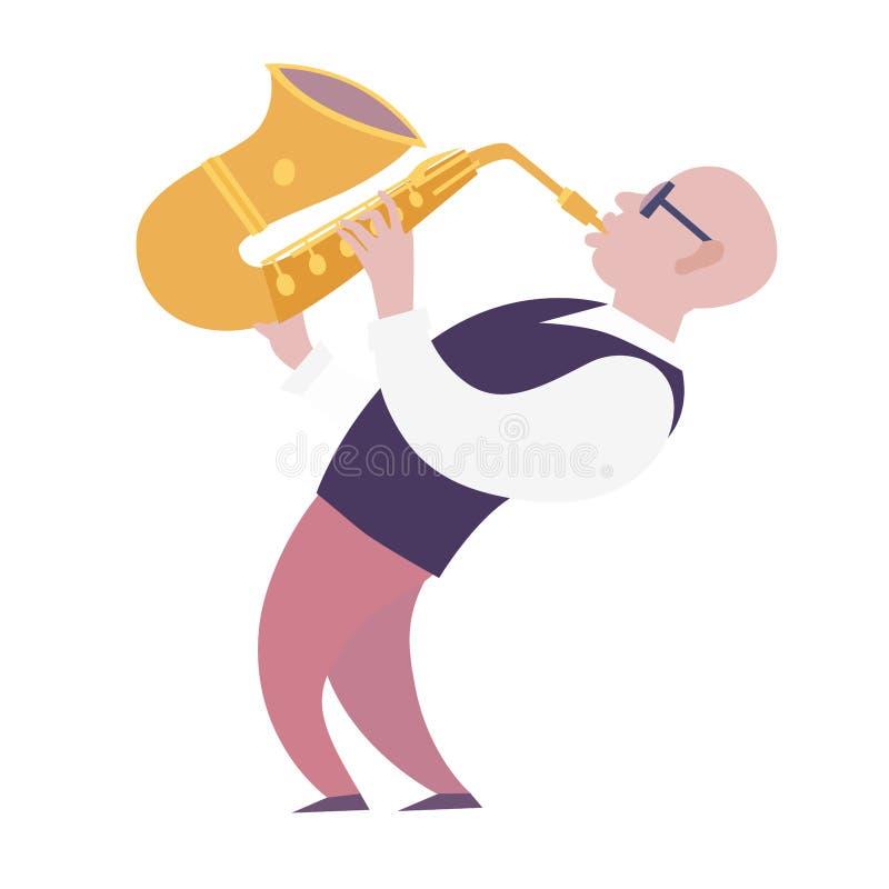 Ilustração colorida do vetor do jogador de saxofone ilustração stock