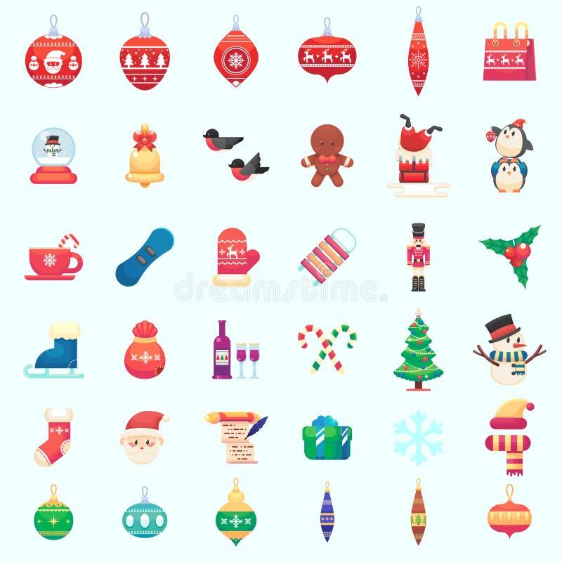 Ilustração colorida do vetor liso da ilustração dos ícones do xmas do ano novo do Natal no estilo liso ilustração royalty free