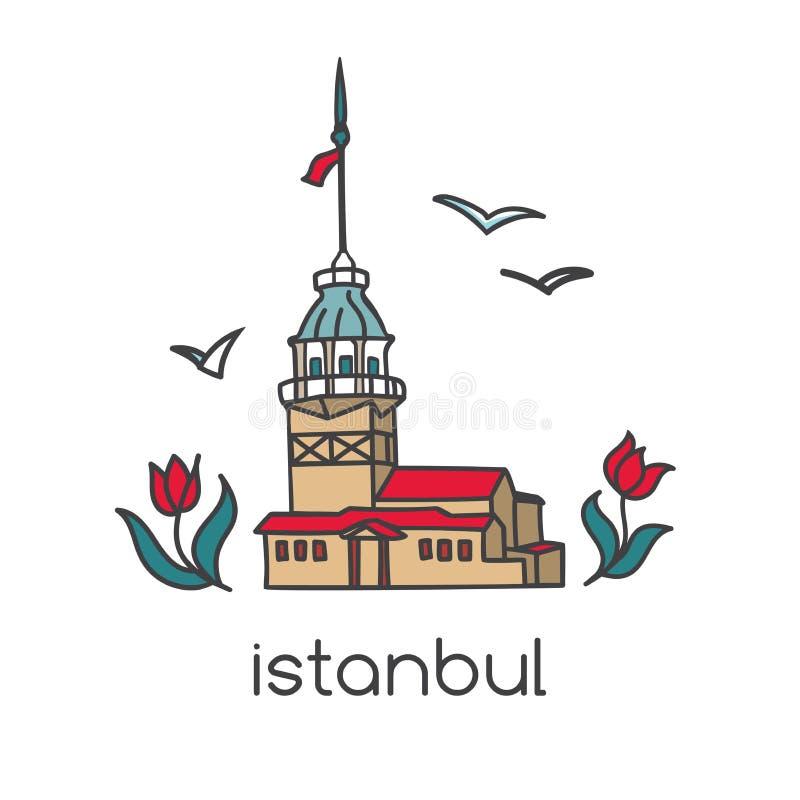Ilustração colorida do vetor do marco famoso em Istambul, Turquia - torre nova com flores e gaivotas da tulipa ilustração royalty free