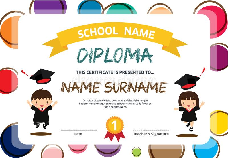 Ilustração colorida do vetor do molde do projeto do fundo do certificado do diploma das crianças do pré-escolar ilustração royalty free