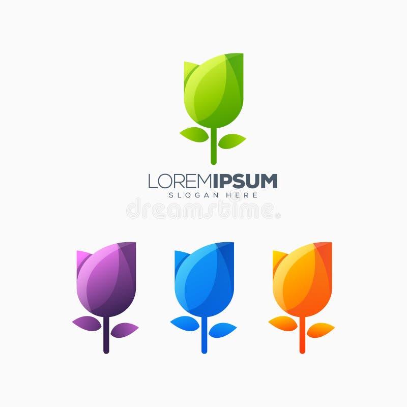 Ilustração colorida do vetor do projeto do logotipo da tulipa ilustração stock