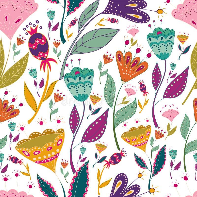 A ilustração colorida do vetor sem emenda do teste padrão com pássaros bonitos floresce Cartaz da arte para a decoração seu inter ilustração stock