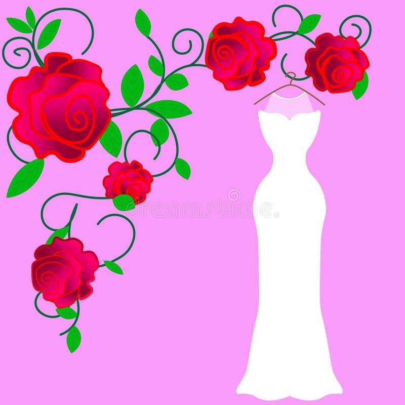 Ilustração colorida do vetor do vestido da noiva do traje da silhueta ilustração royalty free