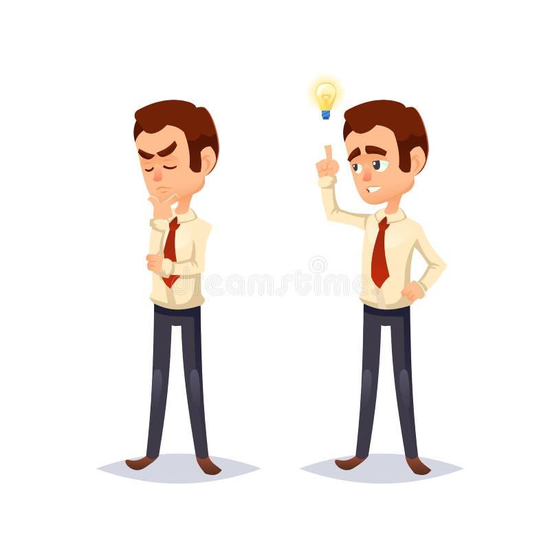 Ilustração colorida dos desenhos animados de um projeto de caráter novo considerável do homem de Business do homem de negócios Pe ilustração do vetor