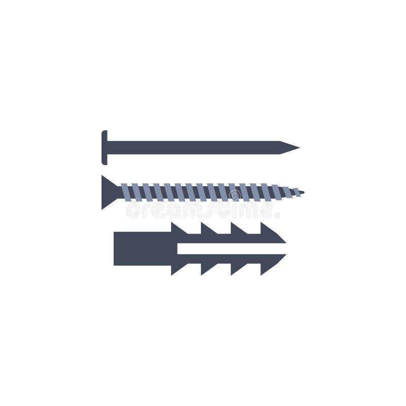 ilustração colorida dos pregos Elemento de ferramentas da construção para apps móveis do conceito e da Web A ilustração detalhada ilustração stock