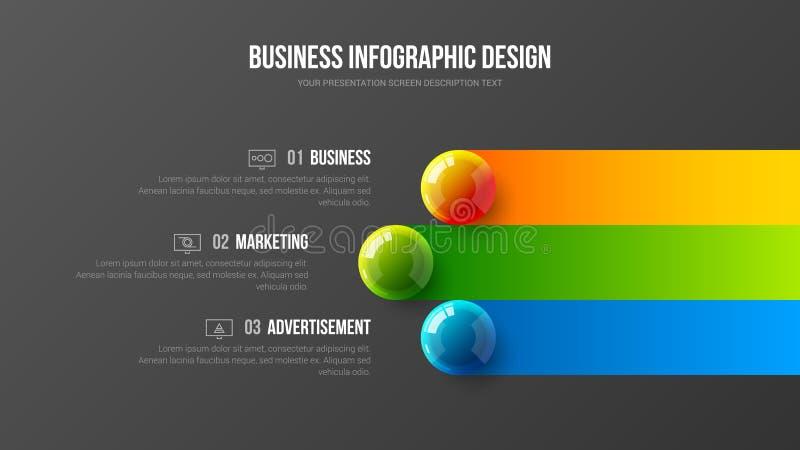 Ilustração colorida infographic das bolas do vetor 3D da apresentação do negócio surpreendente ilustração stock