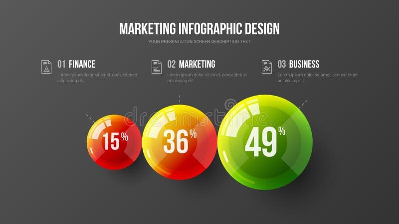 Ilustração colorida infographic das bolas do vetor 3D da apresentação do negócio surpreendente ilustração do vetor