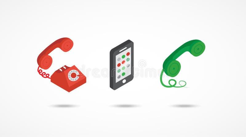 Ilustração colorida isométrica dos ícones 3d do telefone ilustração royalty free