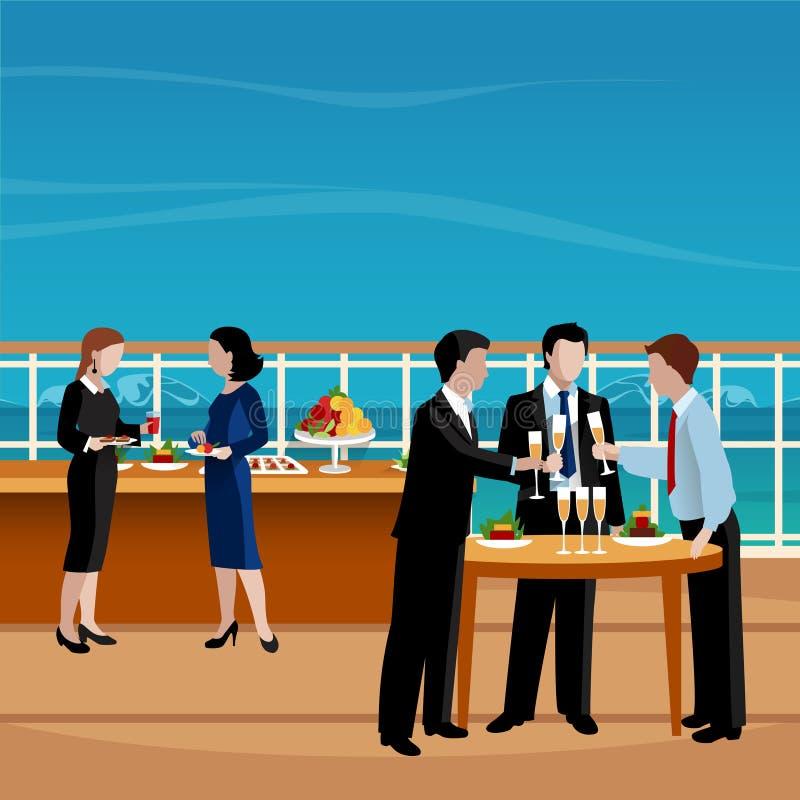 Ilustração colorida plano do vetor dos povos do almoço de negócio ilustração royalty free
