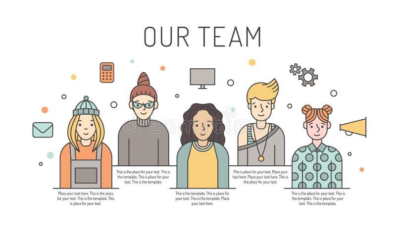 Ilustração colorido da equipe do trabalho do vetor das mulheres Conceito de projeto do negócio Projeto de Minimalistic ilustração royalty free