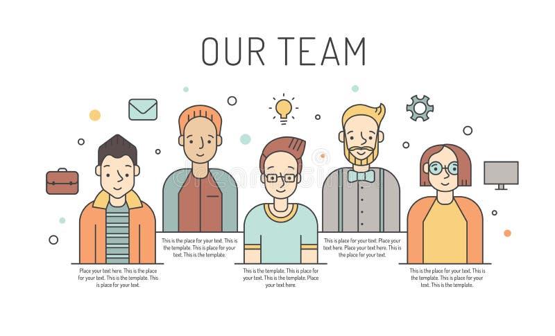Ilustração colorido da equipe do trabalho do vetor dos homens Conceito de projeto do negócio Projeto de Minimalistic ilustração stock