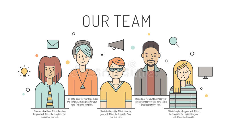 Ilustração colorido da equipe do trabalho do vetor (mulheres e homens) Conceito de projeto do negócio Projeto de Minimalistic Par ilustração do vetor