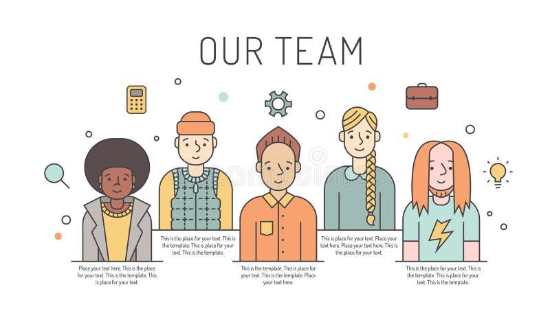 Ilustração colorido da equipe do trabalho do vetor (mulheres e homens) Conceito de projeto do negócio Projeto de Minimalistic Par ilustração stock