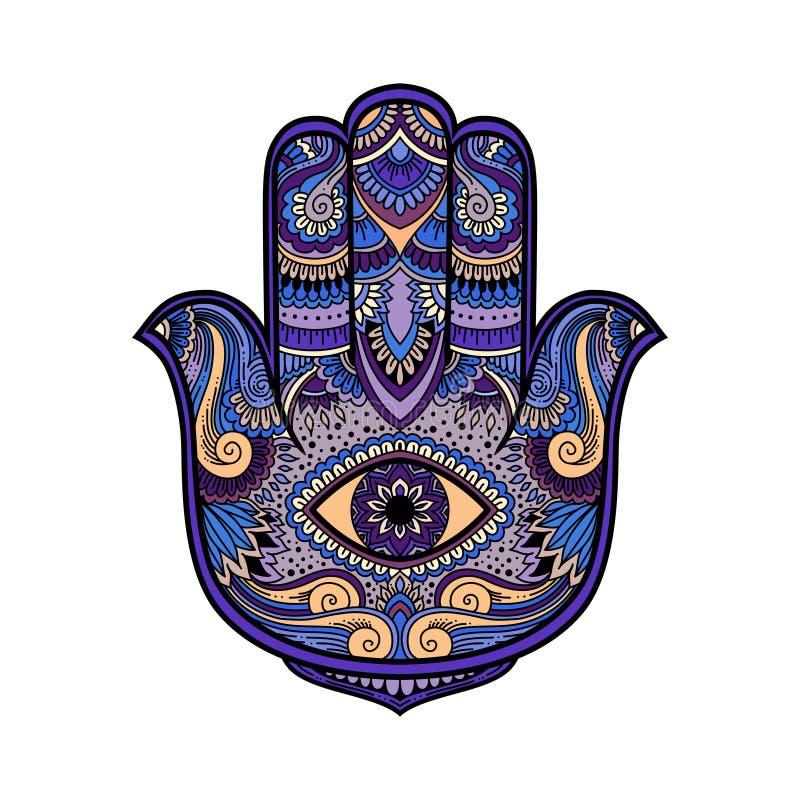Ilustração colorido de um símbolo da mão do hamsa Mão do sinal religioso de Fatima com todo o olho de vista Estilo do boho do vin ilustração royalty free