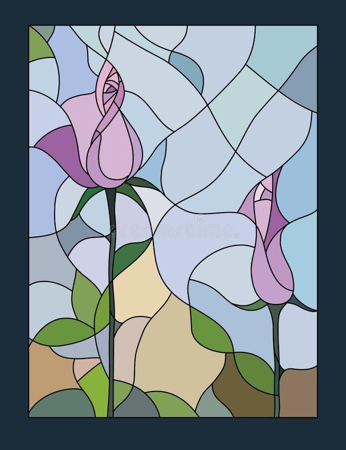 Ilustração colorido do vitral com vetor cor-de-rosa floral do motivo ilustração stock