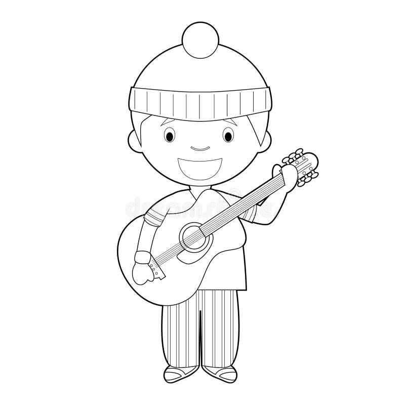Ilustração colorindo fácil do vetor dos desenhos animados de um músico ilustração royalty free