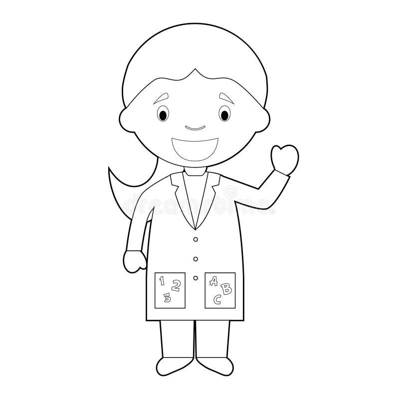 Ilustração colorindo fácil do vetor dos desenhos animados de um professor fêmea ilustração do vetor